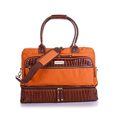 Samantha Brown Croco-Embossed Trim Drop Bottom Weekender Bag - Koi Orange