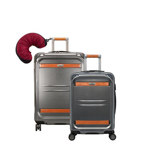 "Ricardo Beverly Hills Ocean Drive | 3-Piece Set | 21"" and 25"" Spinners, Travel Pillow (Silver)"