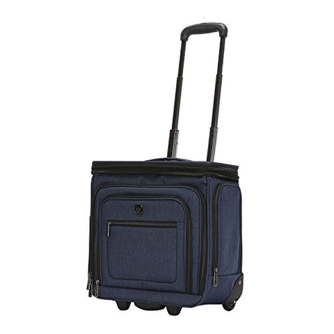 "Travelers Club Luggage 16"" Top Expandable Rolling Underseater W/USB Port, Blue Suitcase, Carry-On, Navy"