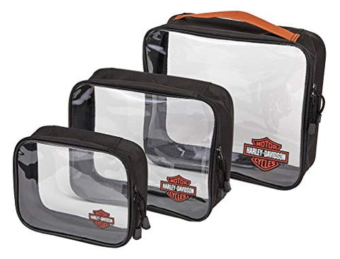 Harley-Davidson Clear Zippered Packing Cubes - Set of 3, 99663-RUST/CLEAR