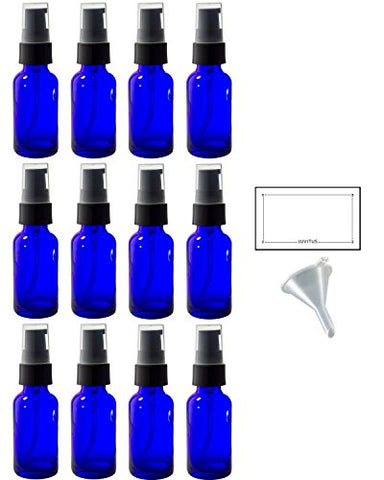 1 oz Cobalt Blue Glass Boston Round Treatment Pump Bottle (12 pack) + Funnel and Labels for essential oils, aromatherapy, food grade, bpa free