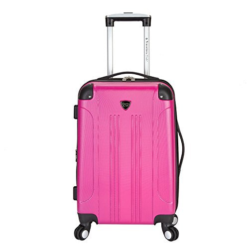 "Travelers Club Luggage Chicago 20"" Hardside Expandable Carry-On Spinner, Pink, One Size"