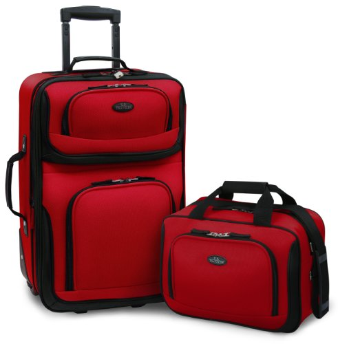 U.S. Traveler – Rio 2-Piece Expandable Carry-On Luggage Set In Red
