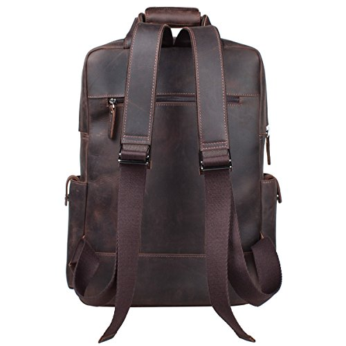 S-ZONE Vintage Crazy Horse Genuine Leather Backpack Multi Pockets Travel Bag