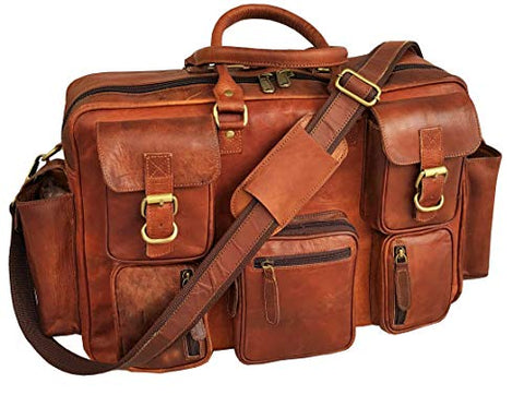 17 Inch Vintage Handmade Leather Messenger Bag for Laptop Briefcase Best Computer Satchel School