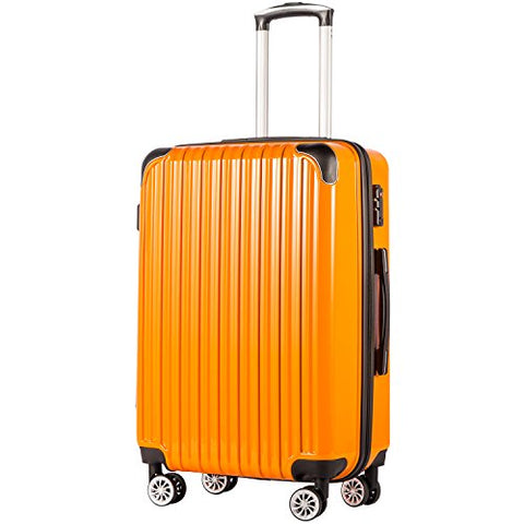 "COOLIFE Luggage Expandable(only 28"") Suitcase PC+ABS Spinner 20in 24in 28in Carry on (Orange New,"