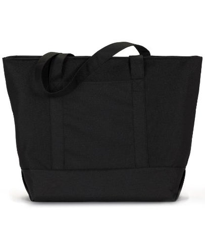 Ultraclub® Zippered Polyester Tote Bag - Black/ Black