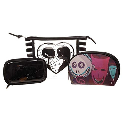 Bioworld Nightmare Before Christmas Jack/Sally Jrs. Cosmetic 3 Piece Standard,Black