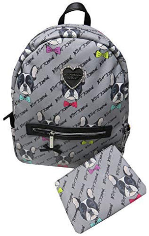 Betsey Johnson Women's Backpack, Grey Pug Dogs,