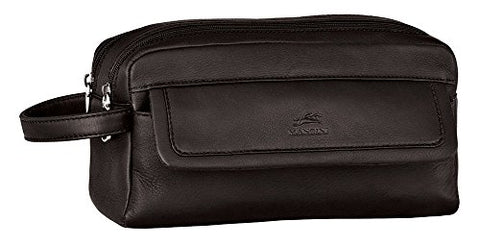 Mancini Leather Goods Colombian Leather Double Compartment Toiletry Kit (Black)