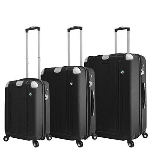 Mia Toro Italy Accera Hardside Spinner Luggage 3 Piece Set, Graphite