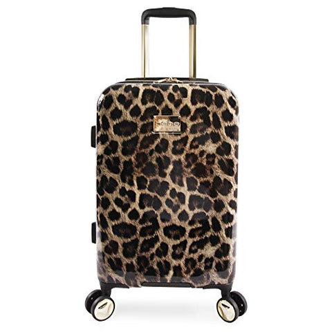 "BEBE Women's Adriana 21"" Hardside Carry-on Spinner Luggage, Leopard"