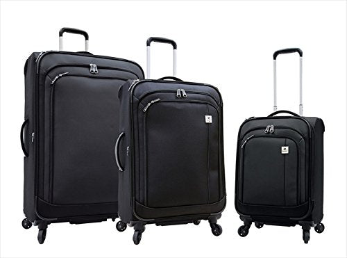 Samboro L6183pcSetBLACK Feather Lite Lightweight Luggage Spinners, 3 Piece Set, Black