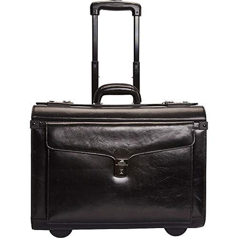 Mancini Leather Goods Deluxe Wheeled Catalog Case (Black)