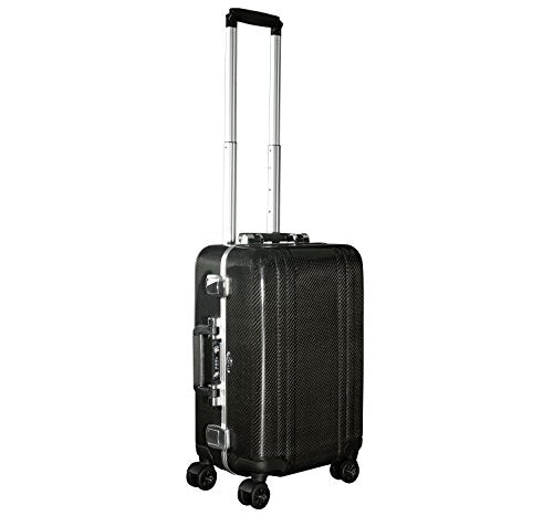 Zero Halliburton Carbon Fiber Carry-On 4-Wheel Spinner Travel Case (One Size, Black)