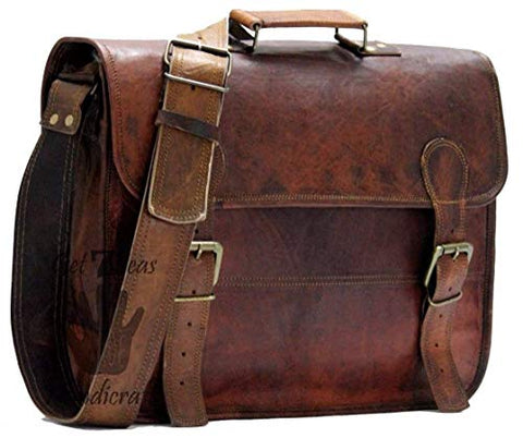 16 Inch Vintage Handmade Leather Messenger Bag for Laptop Briefcase Best Computer Satchel School