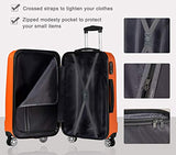 Luggage Set 3 Piece Set Suitcase set with TSA Lock Spinner Hard shell Lightweight (Orange)