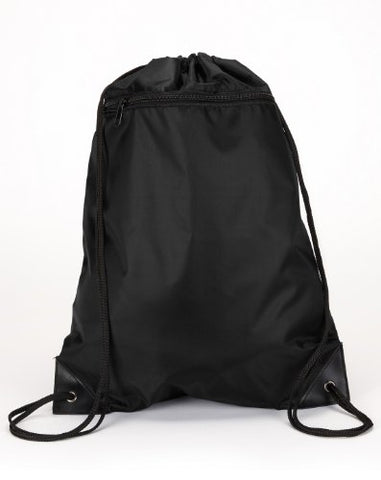 Ultraclub 8888 Zippered Drawstring Backpack - Black -One