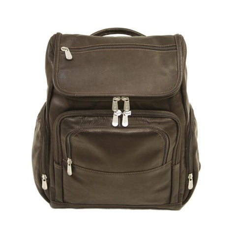 Piel Leather Multi-Pocket Laptop Backpack, Chocolate, One Size