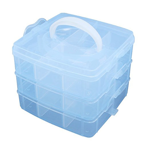 Toogoo(R) Blue Plastic Empty 3 Layer Storage Case Box Nail Art Craft Makeup