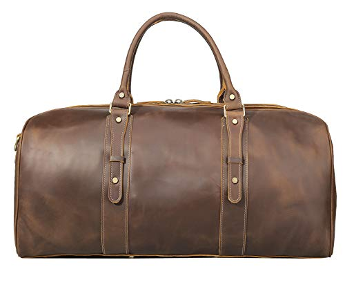 cafe14e94d16 Polare 23 Classic Full Grain Leather Weekender Travel Overnight Luggage  Duffel Bag