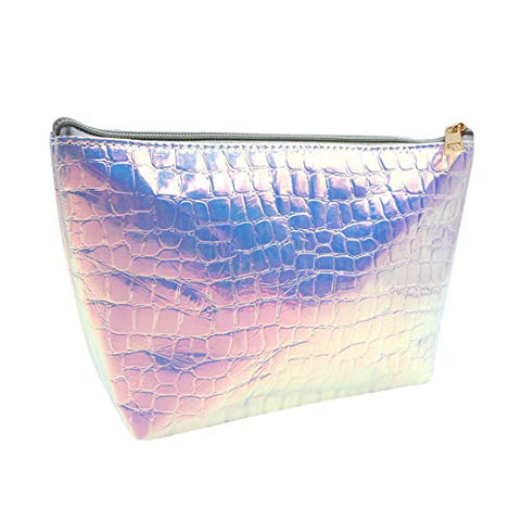 Aibearty Women Holographic Geometric Clutch Handbag Leather Makeup Purse Cosmetic Toiletry Bag