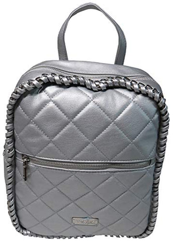 Bebe Devon Quilted Backpack Silver