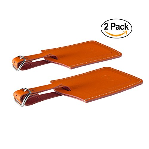 SwissElite Genuine Leather Luggage Tags & Bag Tags 2 pieces Set in 5 Color