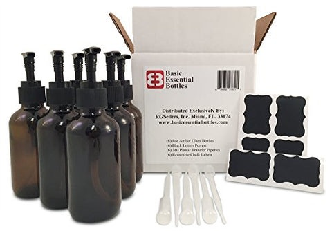 (6) 4 Ounce 4 oz Empty Amber Glass Bottles W/black Lotion Pump Tops (6) 3ml Pipettes (6) Chalk Labels for Oils, Cleaning Products, Aromatherapy, Shampoo, Lotions, Soaps, etc.