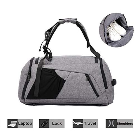 NeSus Travel Luggage Duffel Bag Lightweight Gym Bag Anti-theft Backpack (Grey)