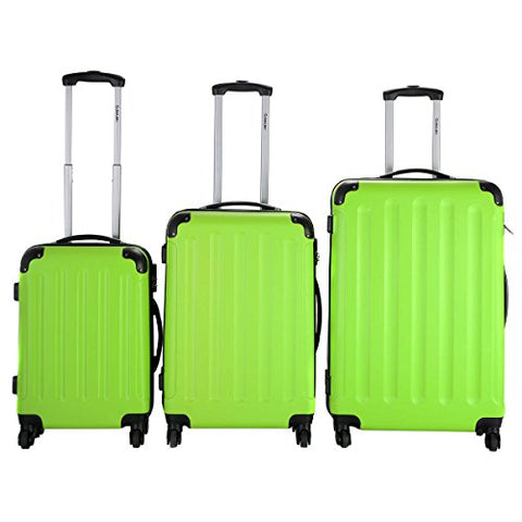 Goplus 3 Pcs Luggage Set Hardside Travel Rolling Suitcase Abs+Pc Globalway (Green)
