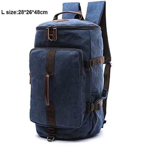 Canvas Men Luggage Bag Carry On Luggage Travel Bags Man Duffel Weekend Bag Travel Backpack,Blue L