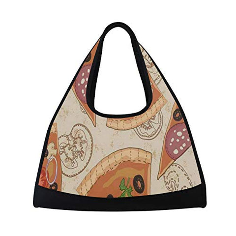 Gym Bag Delicious Pattern With Pizza Women Yoga Canvas Duffel Bag Tennis Racket Tote Bags