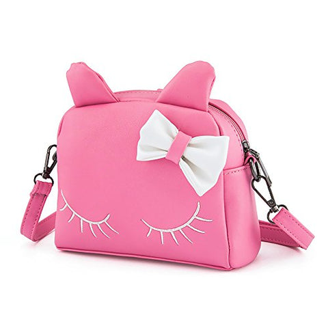 Pinky Family Cute Cat Ear Kids Handbags Candy Color Crossbody Bags PU Leather Shoulder Bags (pink)