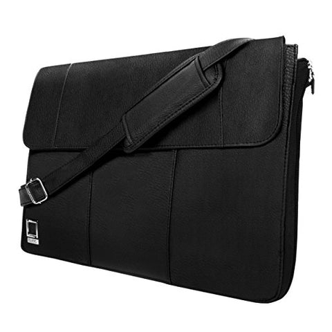 "Lencca Axis Vegan Leather For 13.5"" Laptops With Removable Shoulder Strap (Lenaxis13Blk)"