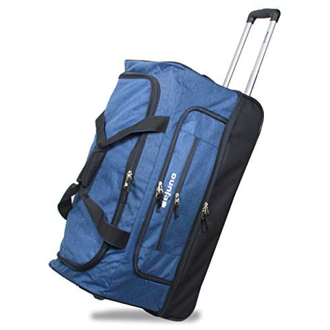 "Dejuno 28"" Lightweight Denim Drop Bottom Rolling Duffel Bag-Blue, One Size"