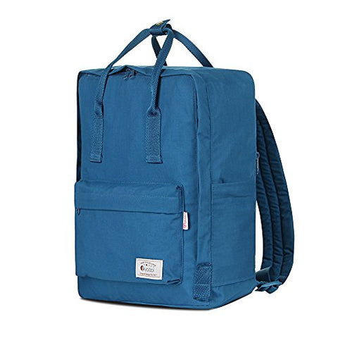 FLYCOOL Classic Canvas Square School Backpack Handbag for Women Navy