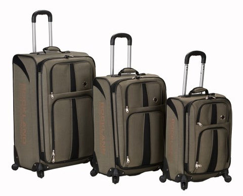 Rockland Luggage Eclipse Spinner Polo Equipment 3 Piece Luggage Set, Khaki, One Size