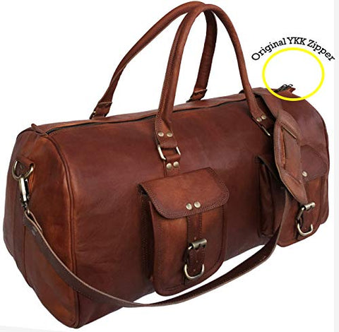 21 Inch Large Leather Duffel Travel Duffle Gym Sports Overnight Weekender Bag