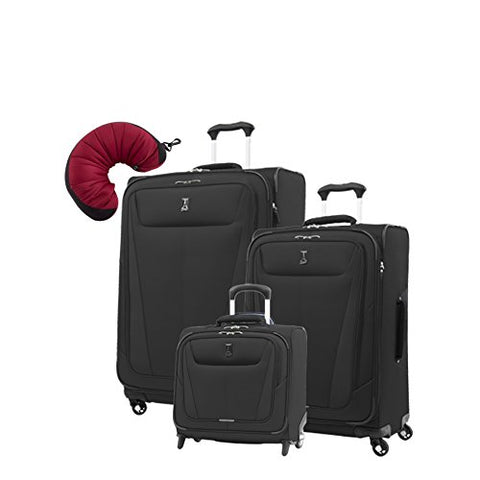 "Travelpro Maxlite 5 | 4-Pc Set | Rolling Tote, 25"" & 29"" Exp. Spinners With Travel Pillow (Black)"