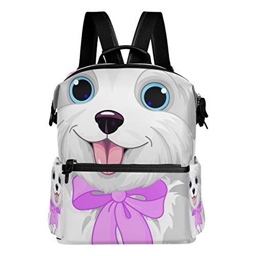 Colourlife White Cute Dog Stylish Casual Shoulder Backpacks Laptop School Bags Travel