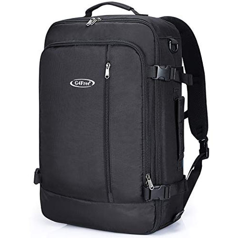 "G4Free Carry On Travel Backpack 40L Flight Approved Fits 19"" Water Resistant Backpack Black"