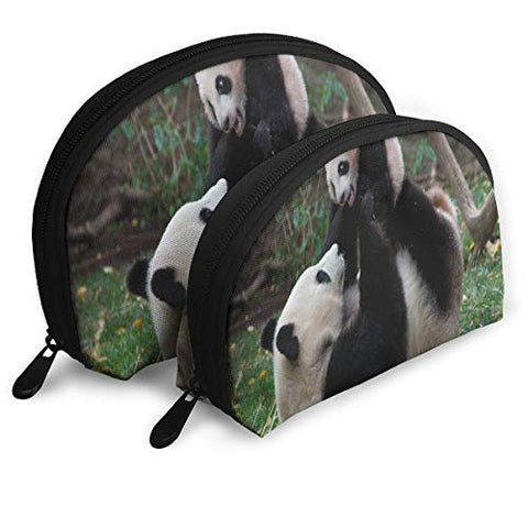 Makeup Bag Cute Panda Baby Portable Half Moon Toiletry Bags Holder For Women