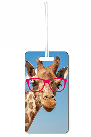 Hipster Giraffe Rosie Parker Inc. Luggage Tag With Personalized Back