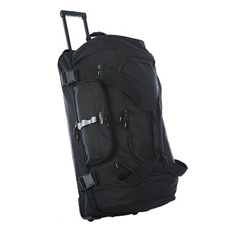 Olympia Sports Plus Drop Bottom Rolling Duffel Bag in Black