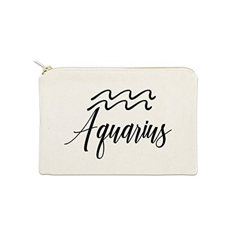 Aquarius Zodiac Sign 12 oz Cosmetic Makeup Cotton Canvas Bag - (Natural Canvas)