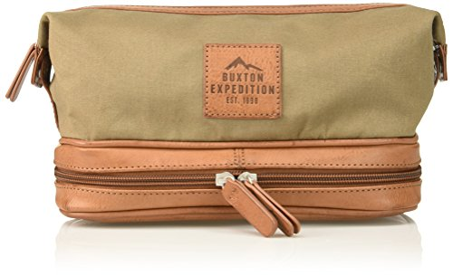 Buxton Men's Expedition Ii Huntington Gear Bottom Zip Canvas Travel Kit, Olive
