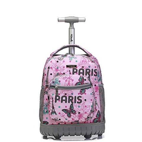 Tilami Rolling Backpack 16 Inch School College Travel Carry-on Backpack Boys Girls, Pink Butterfly Paris