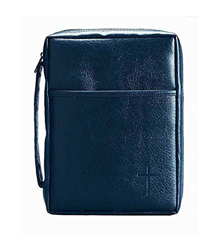 Blue Embossed Cross with Front Pocket Large Leather Look Bible Cover with Handle