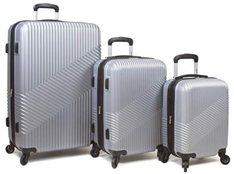 Dejuno Troy ABS 3-Piece Hardside Spinner Luggage Set - Silver